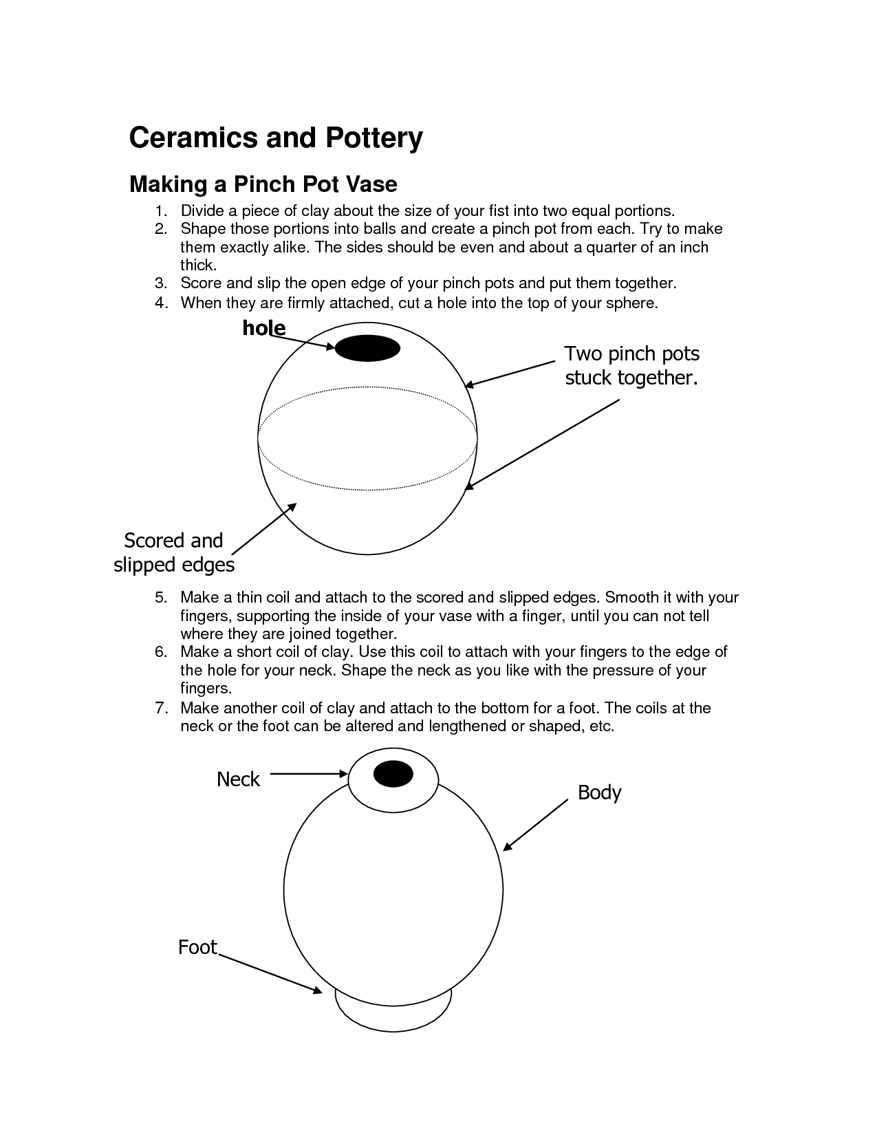 Pinch Pot Vase Worksheet
