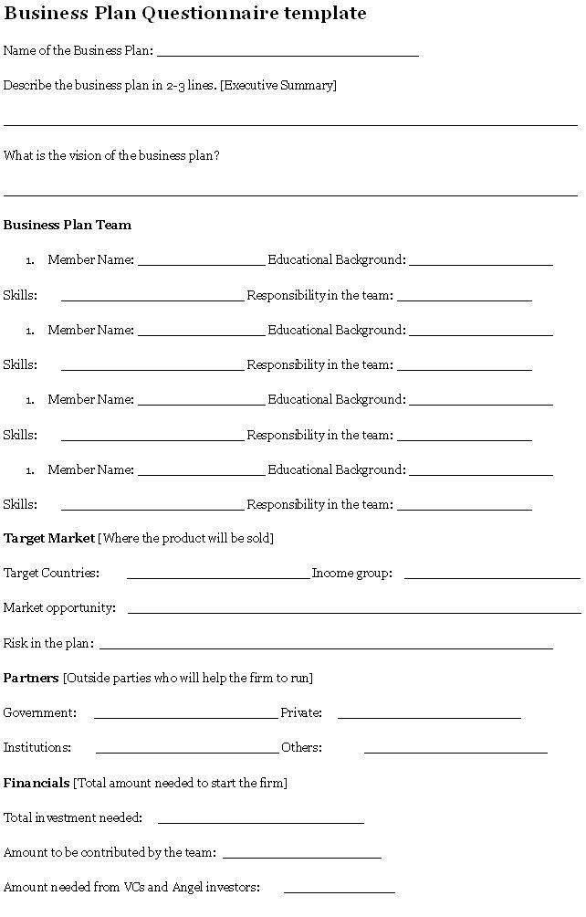 Business Plan Questionnaire Questionnaire  Sample Business Plan