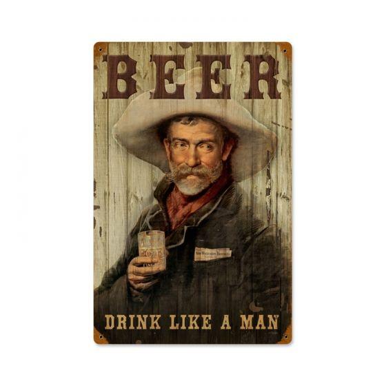 Man Cave Kingdom : Cowboy beer vintage metal sign man cave kingdom