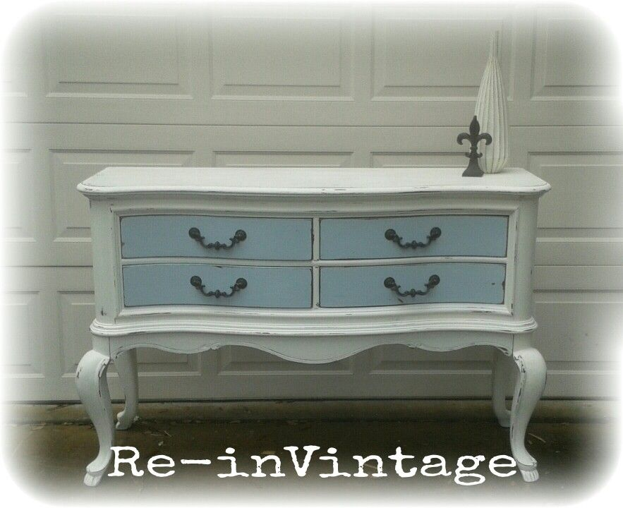 French Provincial buffet painted in a light cream with ...
