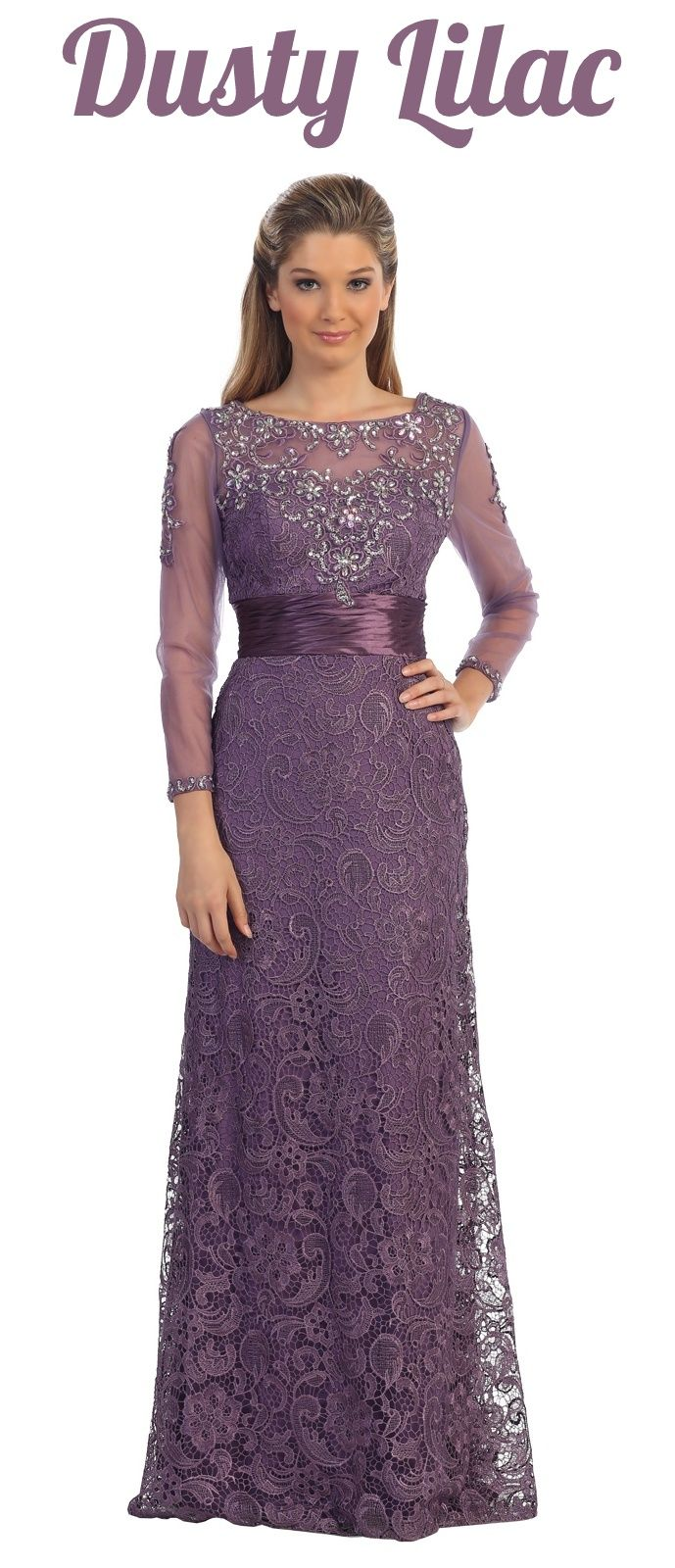 Mother Of The Bride Outfit For Spring Or Summer Long Sleeve Lavender Gown With Embellis Evening Dresses With Sleeves Lavender Gown Mother Of The Bride Outfit