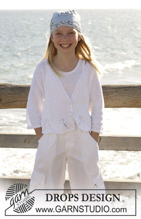 DROPS jacket with lace pattern in Muskat ~ DROPS Design | Cute Kids ...