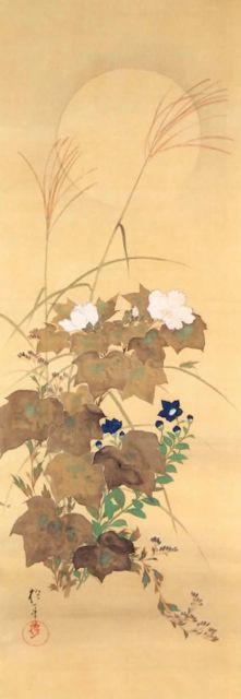 花鳥十二ヵ月図 八月 秋草に螽斯図,酒井抱一,19th century,Japan