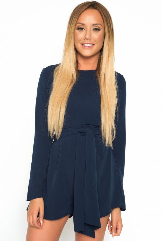 3d40fe7a2eb9e9 Charlotte Crosby Navy Tie Front Playsuit | long hair in 2019 ...