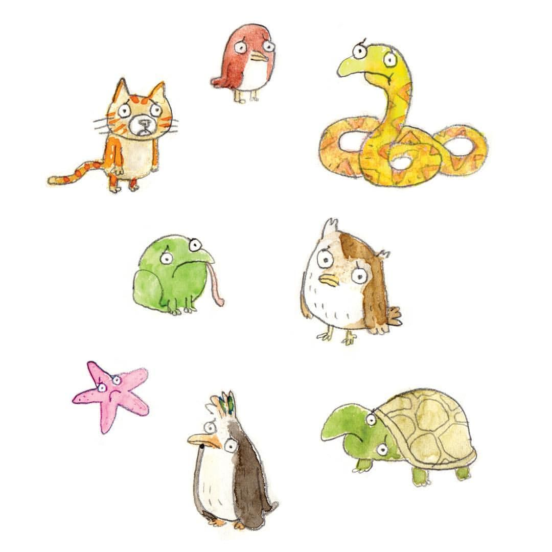 More sad animals. #childrensillustration #animals #sad #illustration #watercolour #cat #toad #owl #tortoise #snake #penguin #starfish #bird #kidslit #sketch #feelingsad