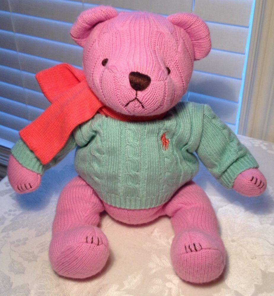 Lovey Ralph Lauren Polo Girls Pink Teddy Bear Sweater