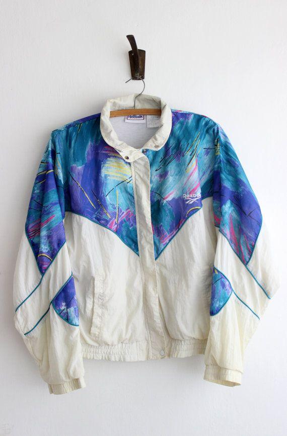 860694f98beb4 90s Reebok windbreaker / vintage neon white by PaintYourWagonShop ...