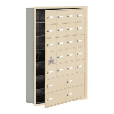 "Salsbury Industries 7 Tier 4 Wide Recessed Mounted Locker Size: 40.75"" H x 29.25"" W x 5.75"" D, Color: Sandstone"