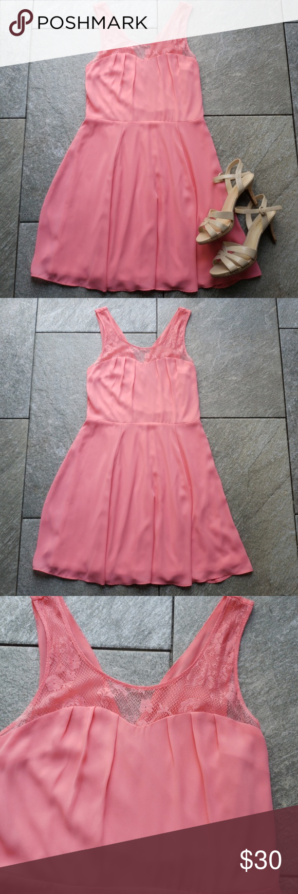 Express pink dress with lace detail in my posh picks