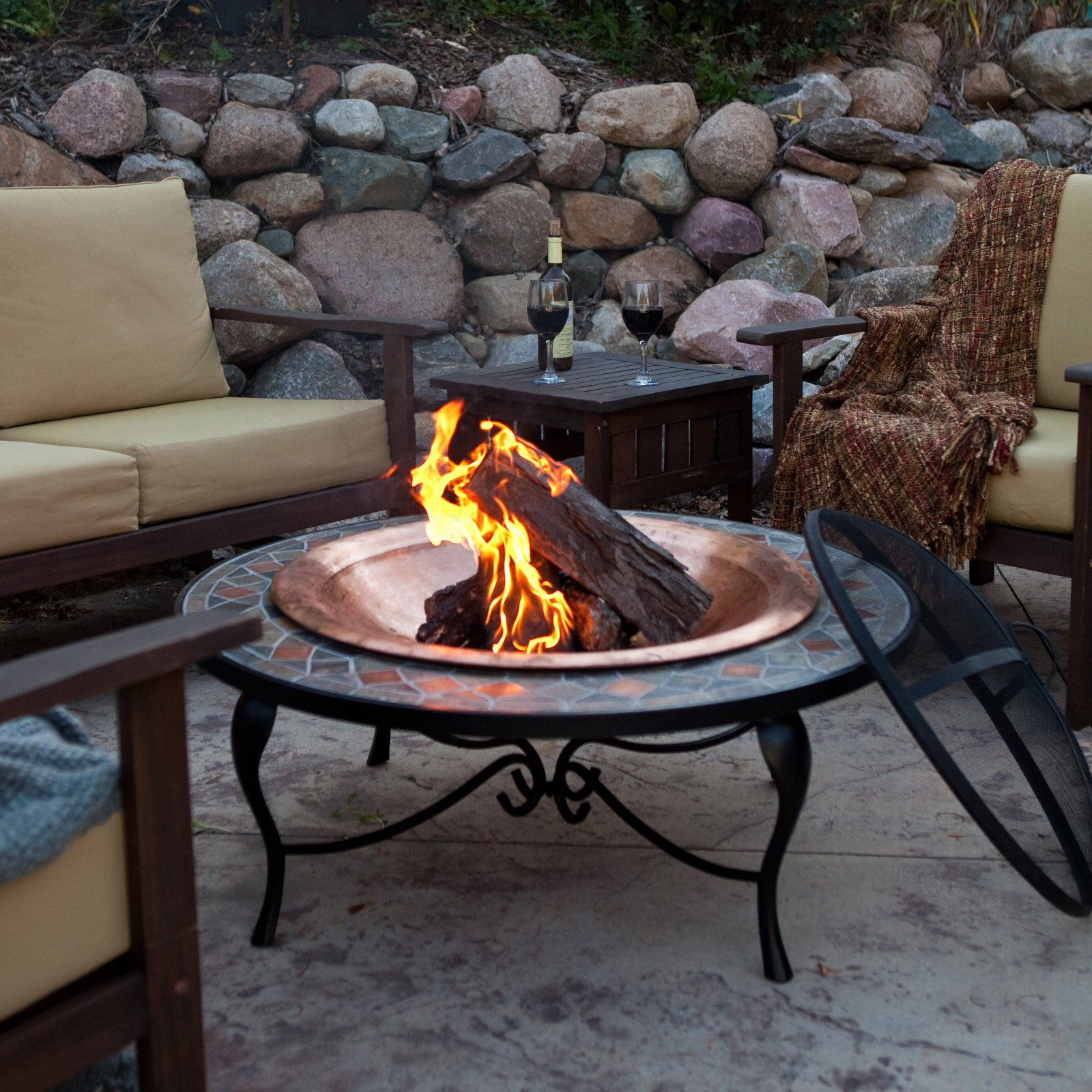 Mosaic 40 Inch Surround Fire Pit with Copper Fire Bowl