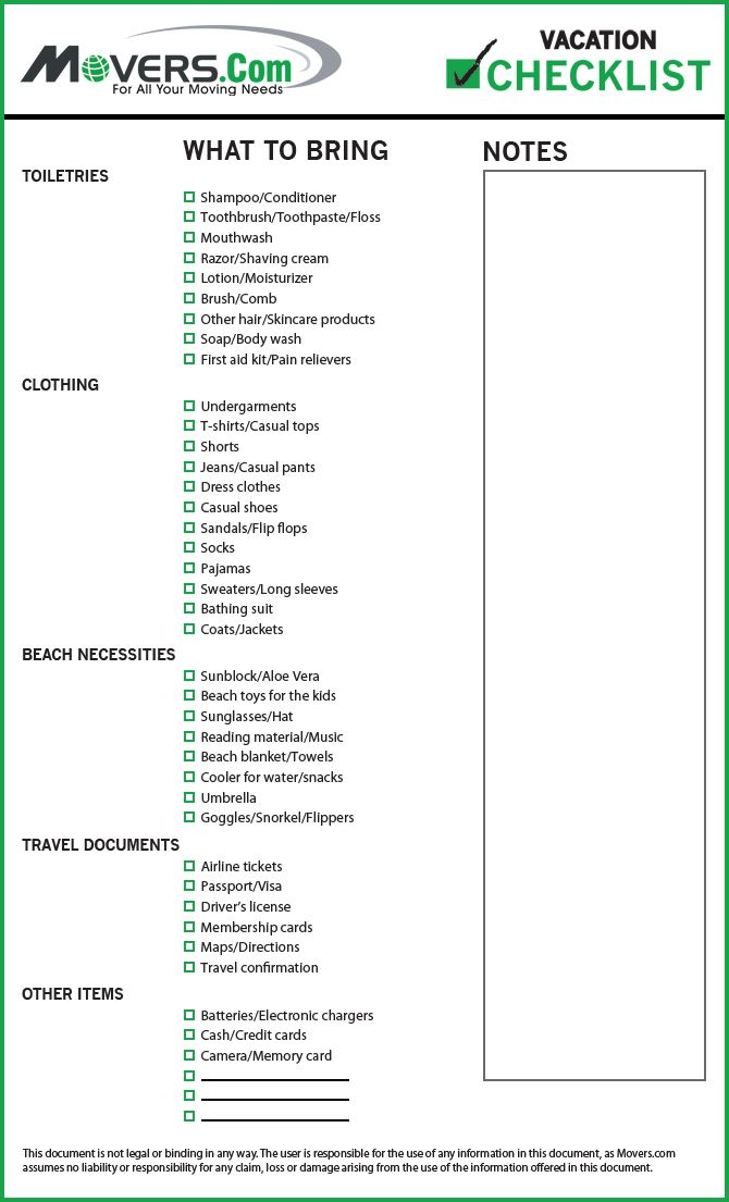 MoversCom  Vacation Checklist  MoversCom  Free Printables