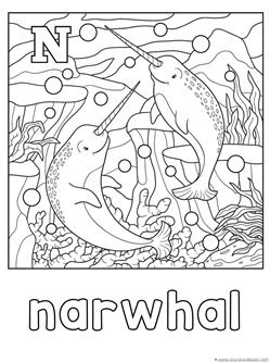 N is for Narwhal Coloring Page | N is for... | Pinterest