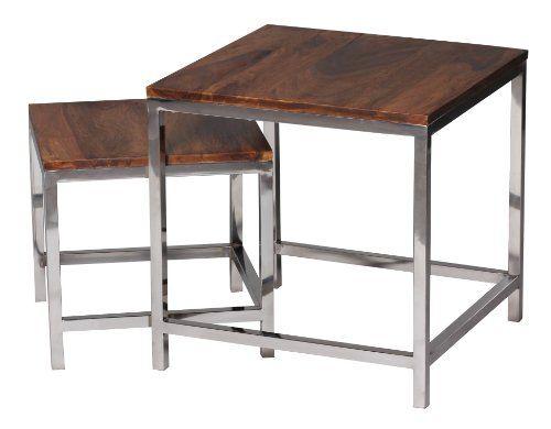 WOHNLING 2er Set Satztisch Massiv-Holz Sheesham Wohnzimmer-Tisch