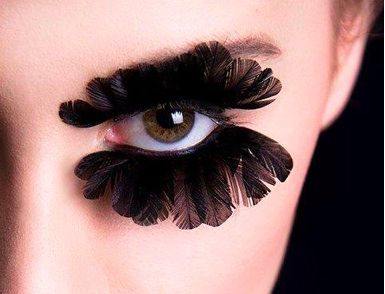 1aa72e15c7f feather eyelashes - a very dramatic makeup look to add to your high fashion  outfit. These are sweet lol
