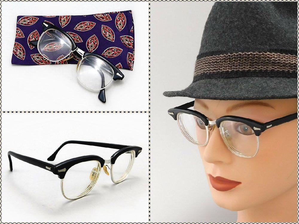 1950\'s Vintage Shuron Ronsir Zyl Black Browline Horn Rimmed Eyeglass ...