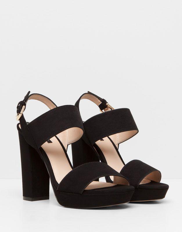 Femmes · Pull&Bear - femme - chaussures femme - sandales à talon lanières -  noir ...