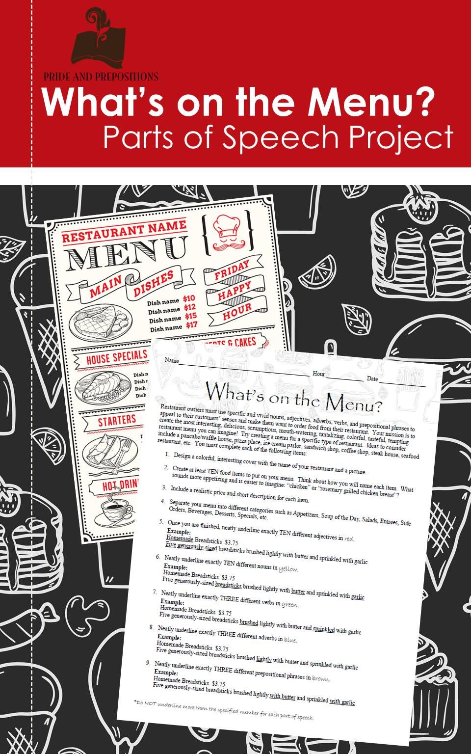 This Grammar Project Allows Students To Use Their Creativity To Think Of A Type Of Restaurant Th Parts Of Speech Practice Parts Of Speech Middle School Grammar [ 1536 x 960 Pixel ]