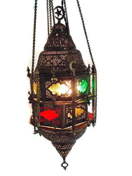 Antique Turkish Lamp Moroccan Lantern Pierced Brass Chandelier Pendant Swag 38 Stained Glass Vintage Hangi Brass Pendant Lamp Hanging Lamp Design Pendant Lamp