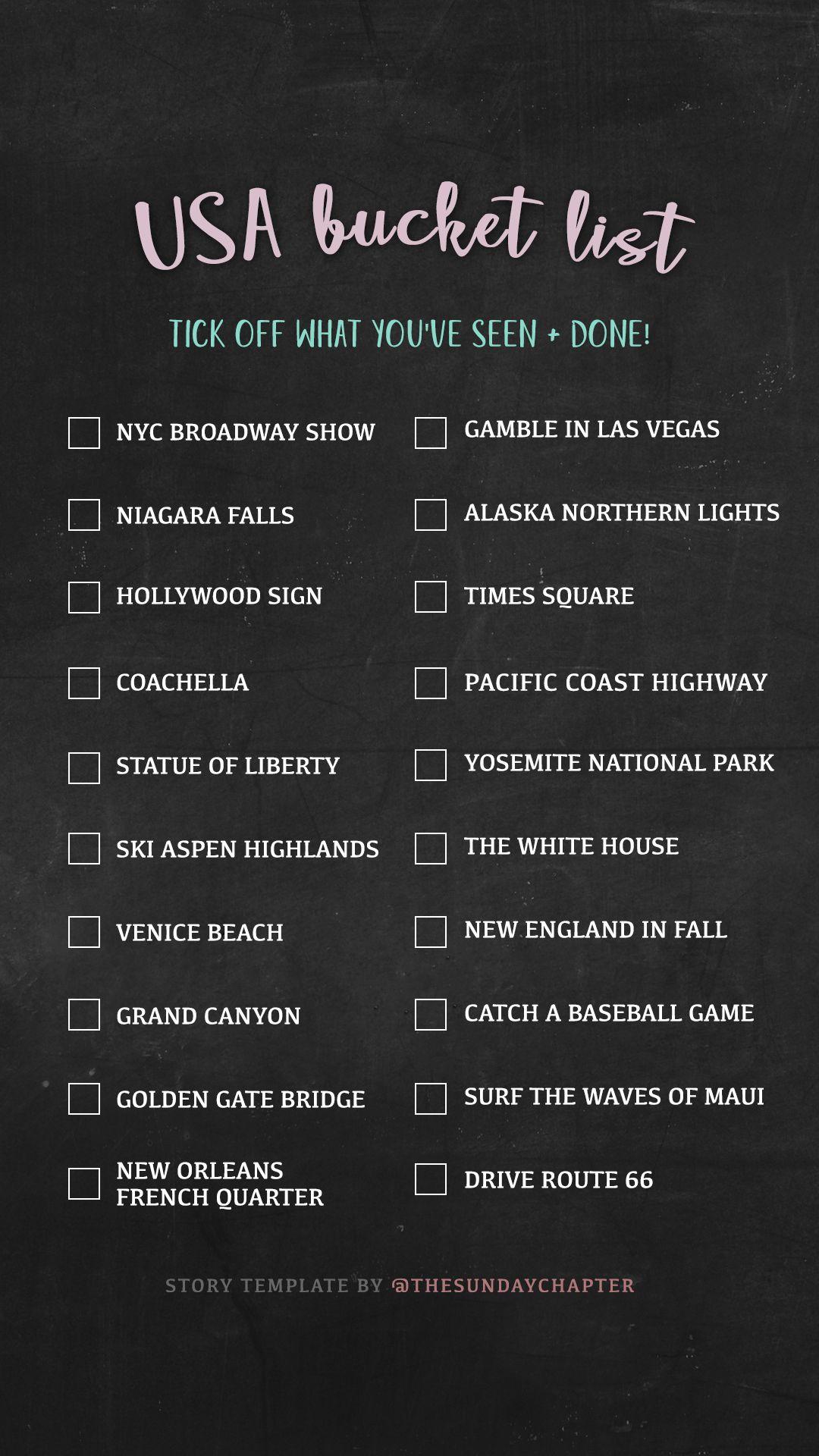 Usa Bucket List Instagram Story Template Usa Bucket List Travel