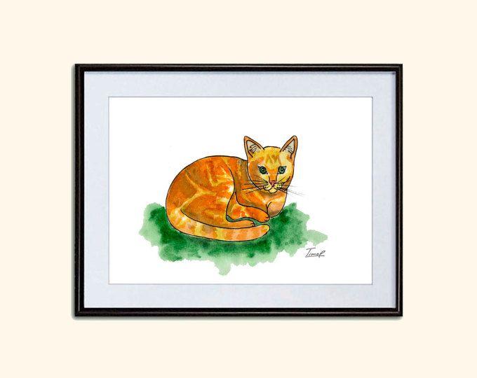 #Cat #Orange #watercolor #art #instant #download #nursery #walldecor #Watercolor #Printable #Digital #Download #Art Print