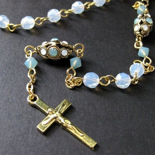 Swarovski Crystal Rosary - Handmade Opals of the Pacific #rosaryjewelry