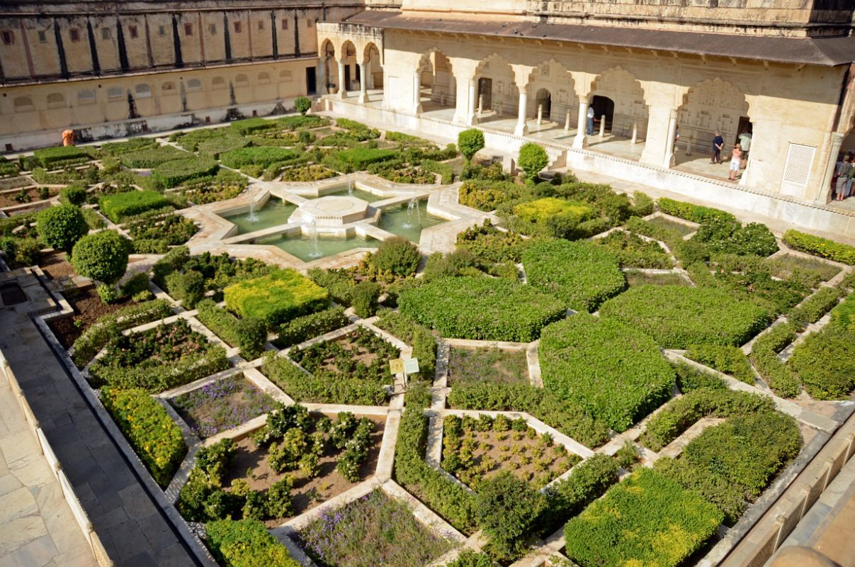 31 Jaipur Amber Fort Garden With Sukh Mahal Hall Of Pleasure Jpg