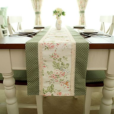 Charmant French Country Style Poly/Cotton Table Runners
