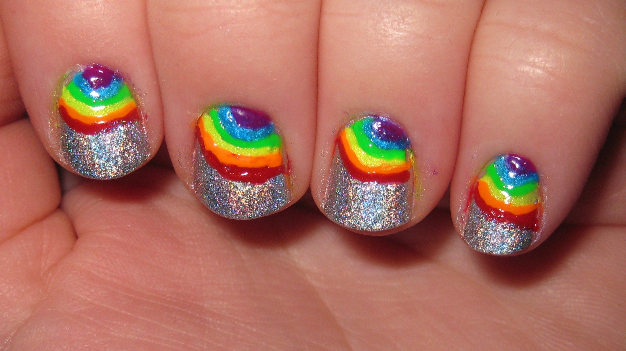 Unique Vintage | Short nails, Rainbows and Rainbow nail art