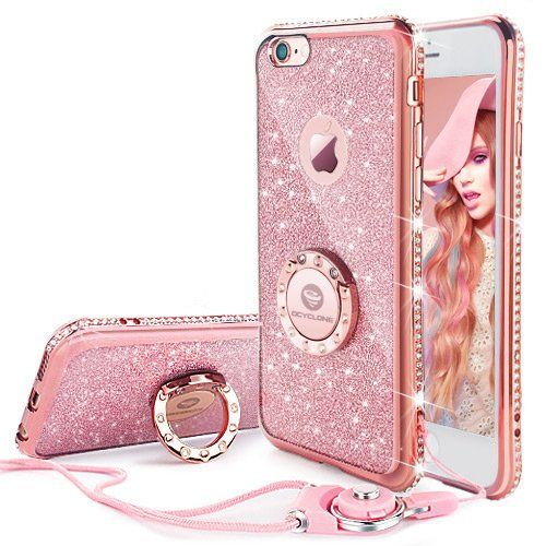 Iphone 6 6s Case Glitter Cute Phone Case Girls With Stand Bling Diamond Rhinestone Bumper With Ring Kickstand Cle Cute Phone Cases Iphone Iphone 7 Plus Cases