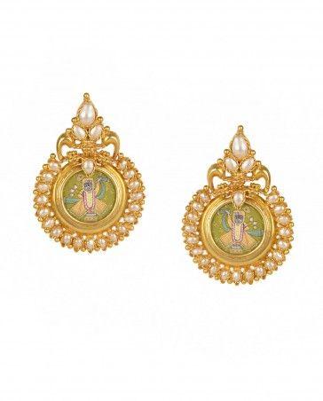 Balaji Earrings with Pearls by Amethyst - Indian Jewelry Design