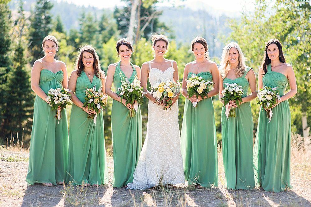 Long Spring Green Bridesmaids Dresses | Spring green, Wedding and ...