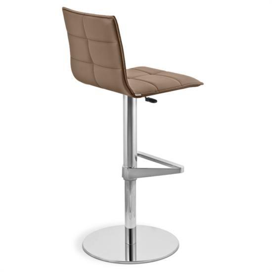 Sgabello in metallo con poggiapiedi con sedile e schienale in ecopelle