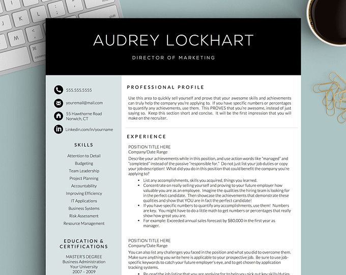 Teacher Resume Template  Cover Letter Cv Professional