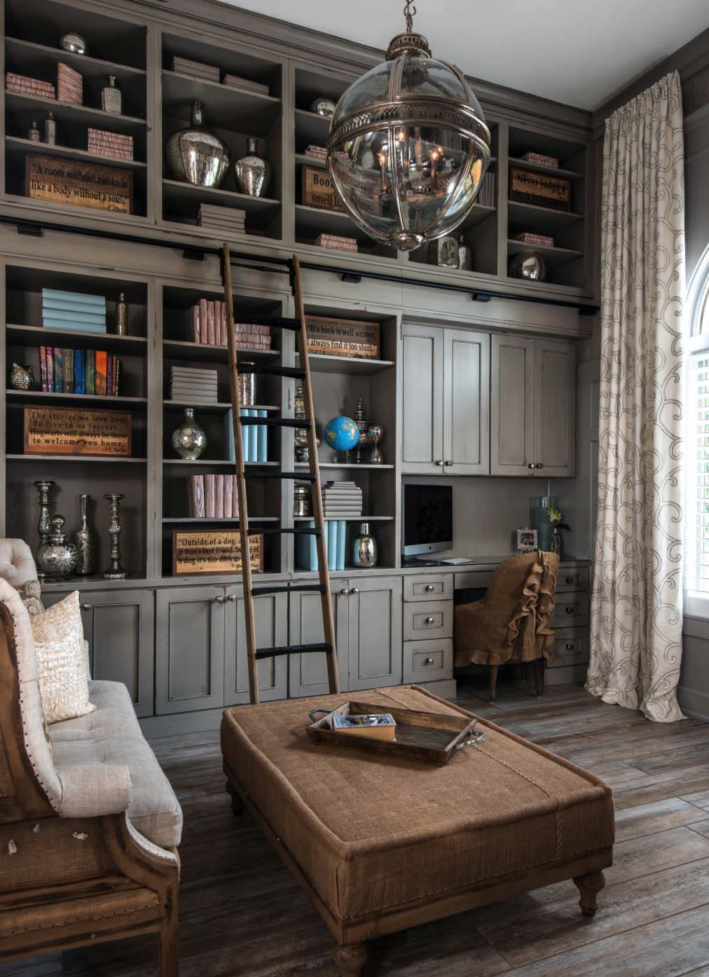 28 dreamy home offices with libraries for creative for Creative home office