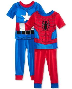6ce466de5d1f0 Ame 4-Pc. Avengers Spider-Man & Captain America Cotton Pajama Set ...