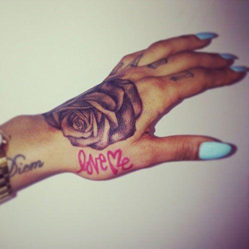 Tattoo Rose Hand And Love Me Tattoo Hand Tattoos Tattoos Hand