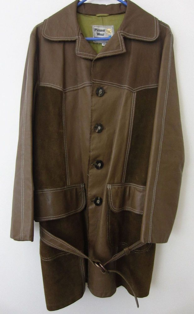 05ab77dd7a1 vtg 60s- 70 s PIONEER WEAR leather   suede country western belted coat  jacket 42  PioneerWear