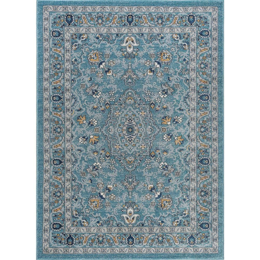 Tayse Rugs Kensington Aqua Blue 8 Ft X 10 Ft Indoor Area Rug Area Rugs Blue Gray Area Rug Oriental Area Rugs