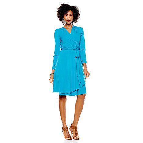 Vicky Tiel Long Sleeve Jersey Wrap Dress
