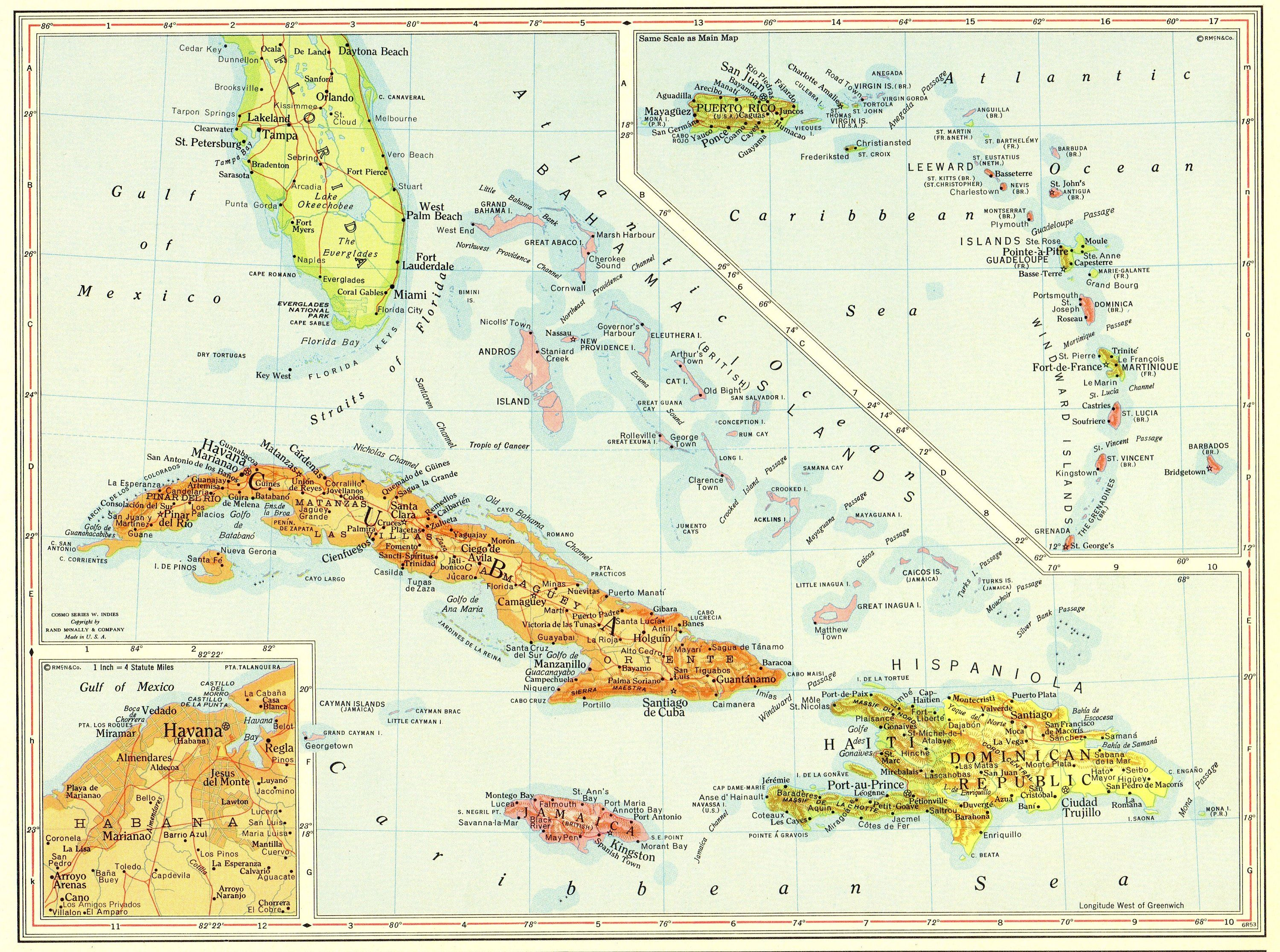 1956 Vintage CARIBBEAN Map West Indies Islands Cuba Map ...