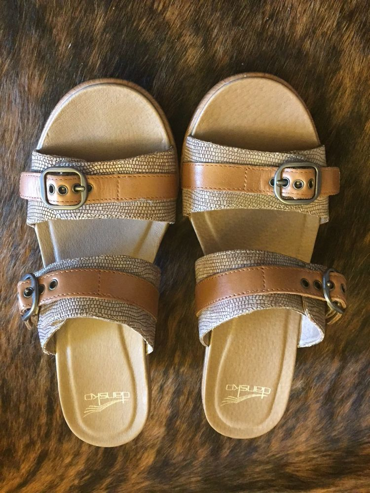 9a22dee44ee0 DANSKO LADIES JESSIE SLIDE SANDALS SAND LIZARD LEATHER NEVER WORN PER OWNER   Dansko  Slides  Beach