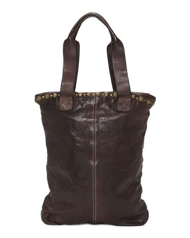 c4cebc6773f0 Studded Leather Tote by Langellotti, from TJMaxx | Clothes/Shoes ...