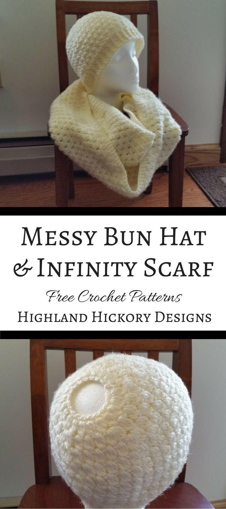 Jess Mess-y Bun Hat - Free Crochet Pattern | Ponchos y Tejido