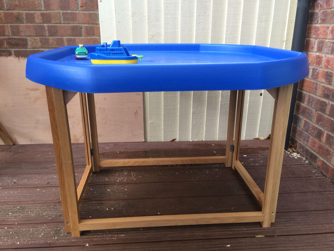 Home Made Wooden Tuff Spot Tray Stand Outdoor Fun For Kids