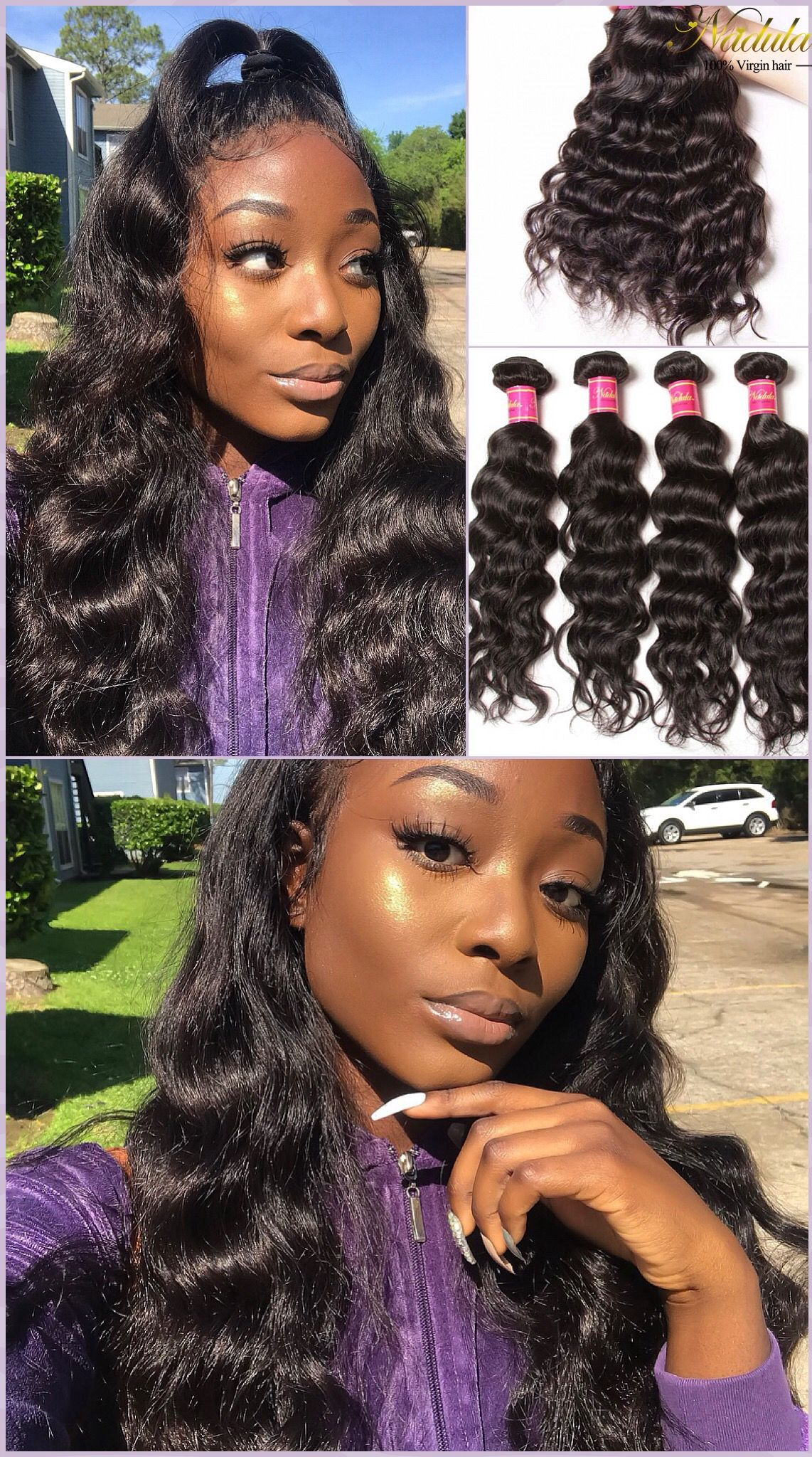 Try This Half Up Half Down Hairstyle This Summer With Unprocessed Nadula Brazilian Natural Wave Hair Natural Waves Hair Half Up Half Down Hair Down Hairstyles