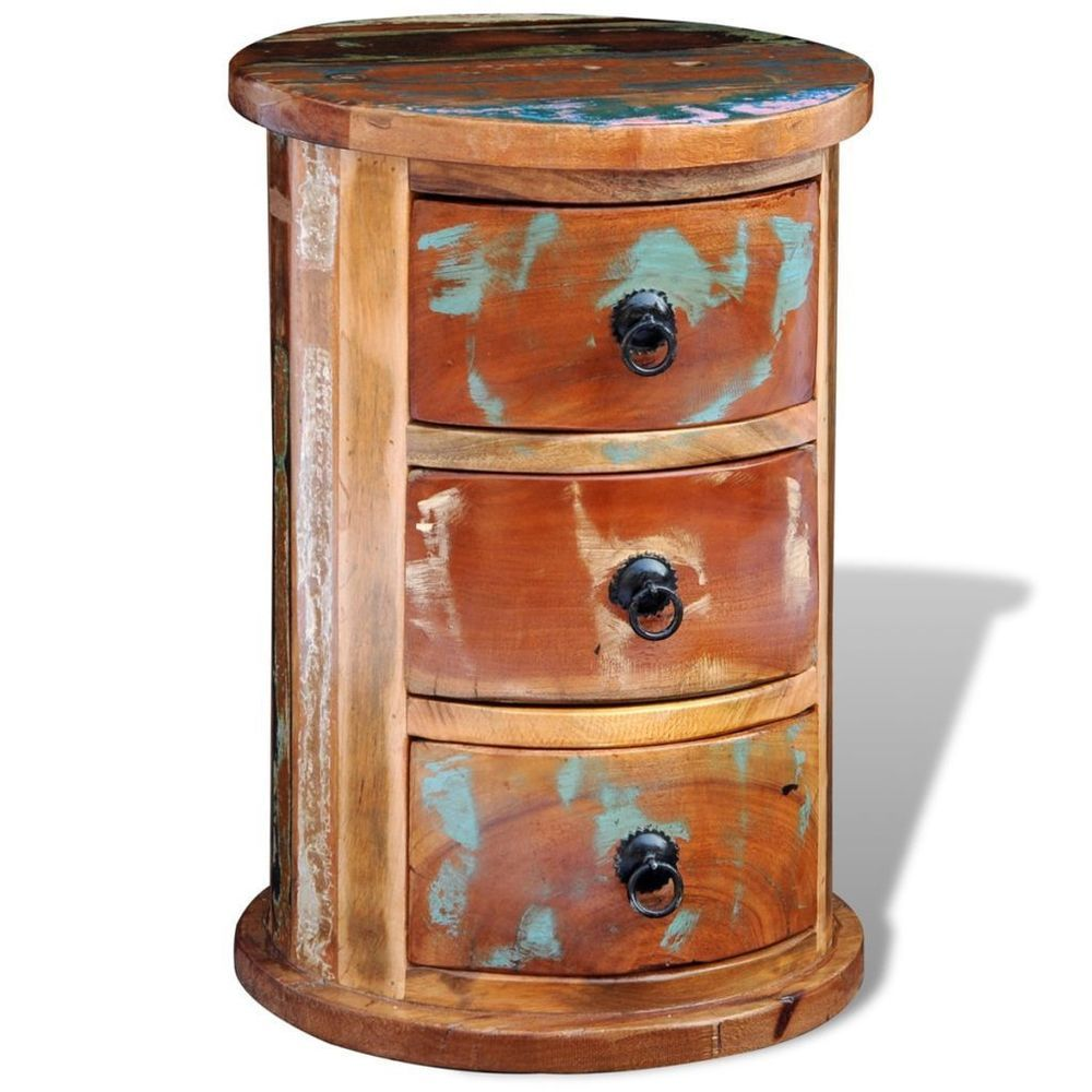 3 Drawer Multicolour Reclaimed Wood Side Table