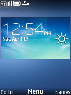 Download free Blue Weather Clock Mobile Theme Nokia mobile