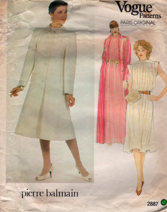 Vogue 2887 1980s Misses A Line COAT and Flared DRESS Pattern Pierre ...