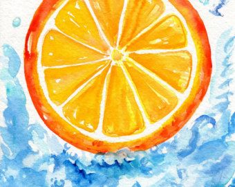 Splashing Orange Watercolor Painting, Small Citrus Fruit Painting, Food  Kitchen Wall Art   Watercolors