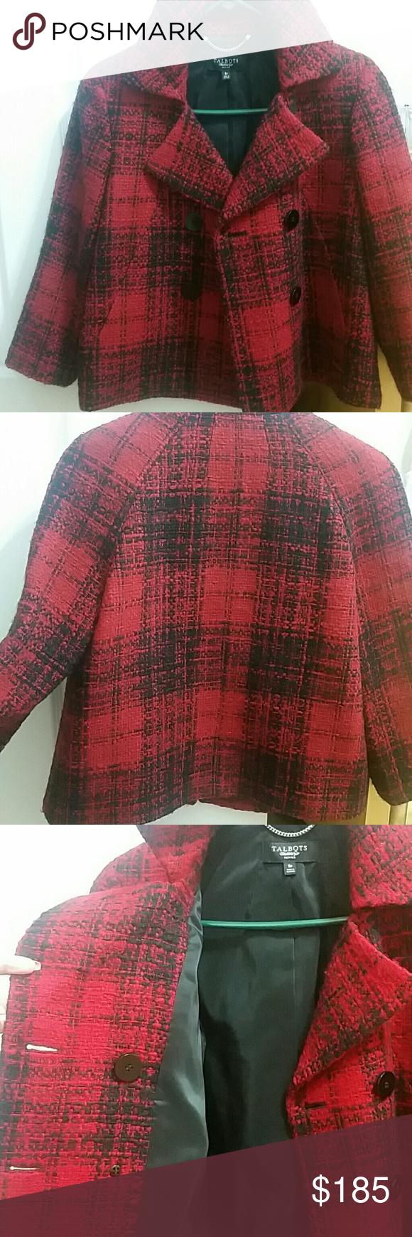 Pea coat red/black print,double-breasted overcoat Talbots Jackets & Coats Pea Coats
